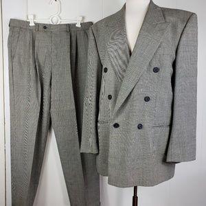 Enrico Corsini Mens Suit 44R Black/WhiteHoundst